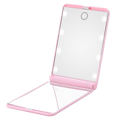 Small Purse Mirror - Miss Sweet Compact Mirror with Led Lights for Purse 2X (Pink)