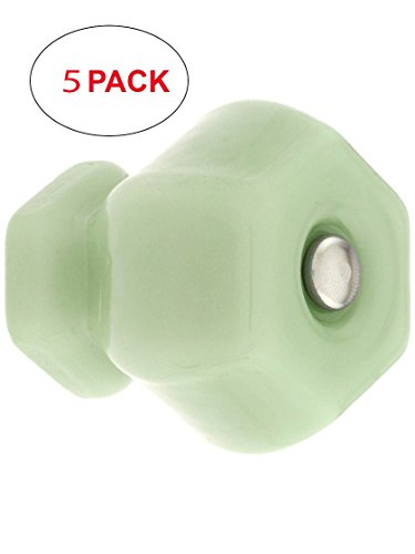 - House of Antique Hardware R-08MH-H150MG-5 Large Hexagonal Milk Green Glass Cabinet Knob with Nickel Bolt (5 Pack)