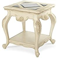 Michael Amini Lavelle End Table, Blanc