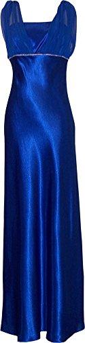 Satin Chiffon Prom Dress Bridesmaid Crystals, XL, Royal-Blue