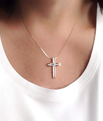 18k Designer Cross - 18k Rose Gold Plated Big Cross Pendant Necklace for Women 18