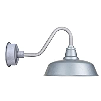 Cocoweb 10 Inch Galvanized Silver Goodyear LED Wall Mounted Gooseneck Barn Light with Galvanized ...