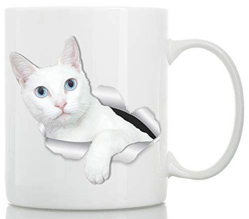 White Kitty Cat Mug - Blue-Eyed White Cat Ceramic Coffee Mug - Perfect White Cat Gifts - Funny White Cat Coffee Mug for Cat Lovers Blue Eyed White Cats