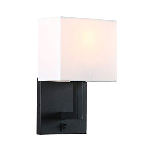 Permo Single Wall Sconce Light Fixture Black Finish with White Textile Shades and On/Off Switch Button Small Modern Nightstand Lamps for Bedrooms Bedside Reading