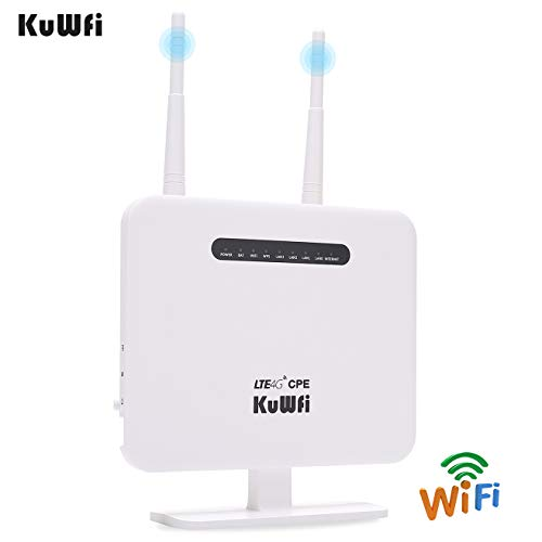 KuWFi 4G LTE CPE Router 300Mbps Unlocked Wireless Routers with SIM Card Slot 2 Outdoor Antenna 4 LAN Port WiFi Hotspot High Speed for 32 Users Work in Caribbean/Europe/Asia/Middle East/Not for USA