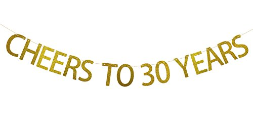 Fecedy Gold CHEERS TO 30 YEARS Banner for birthday party decorations