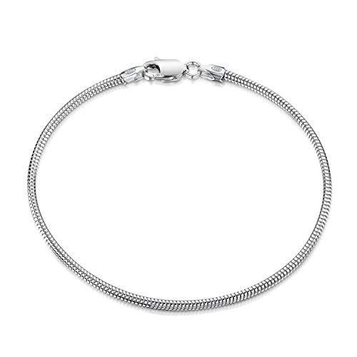 (Amberta 925 Sterling Silver 1.9 mm Snake Chain Bracelet Length 7