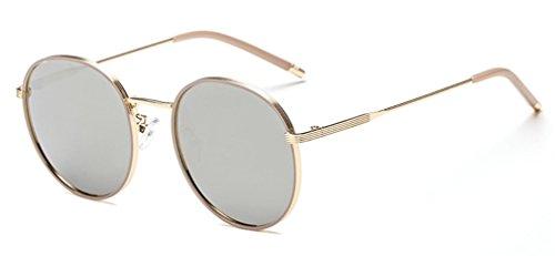 Vendimia de la Haze Marco UV de Redondas Sol Gafas Gafas A polarizadas Mujer Metal Protección C de Sol de para Gafas MOQJ zdw8xOO