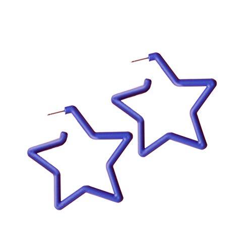 - JOYID 2.75in Big Star Earrings Bubble colors Resin Personality Hoop Stud Earrings for Women Girls-Purple