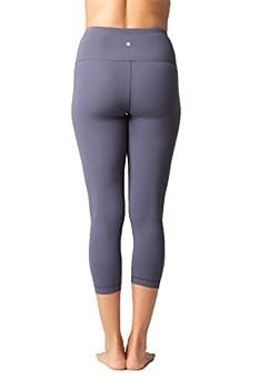 Yogalicious High Waist Ultra Soft Lightweight Capris - High Rise Yoga Pants - Lavender Grey - Xs 2