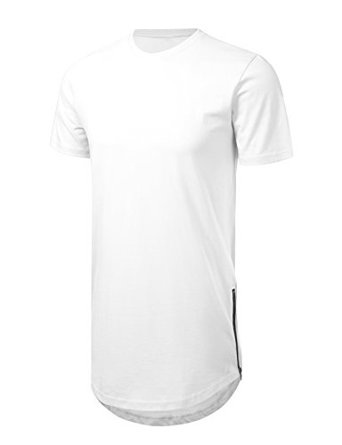 - JD Apparel Men's Hipster Hip Hop T-Shirt with Side Zipper Trim XL White