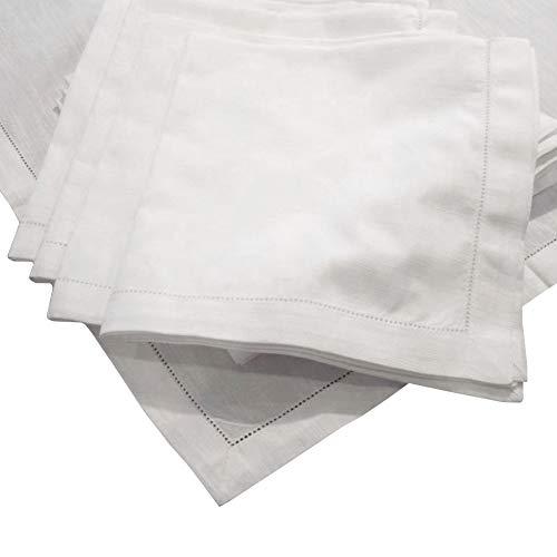 American Pillowcase Egyptian Cotton Hemstitch Dinner Napkins, Super Value Bulk Pack of 12, Off White