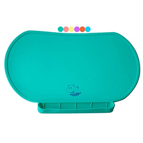 Children Place Mat by Baby Mumbo, Premium Quality, Food Grade Silicone for Maximum Hygiene, Unique Raised Edges Design and Spill Proof Accident Tray, Lightweight and Portable, 6 Colors (Giggle Green) (Baby Eating Mat)