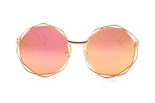 FBL Metal Double Wire Octagonal Hippie Round Mirror Flat Lens Sunglasses A080 (Gold/ Pink - Flat Lenses Octagonal