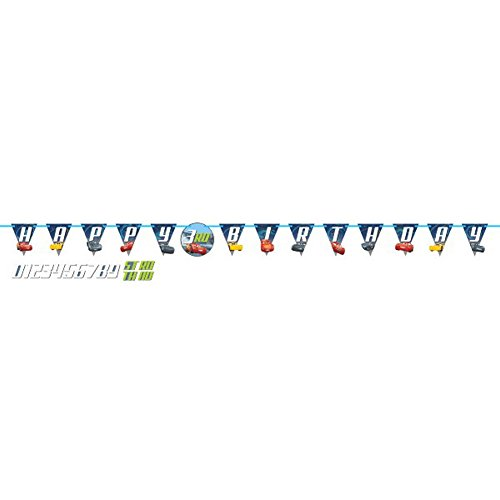 Amscan Cars 3 Birthday Jumbo Add-an-Age Letter Banner -