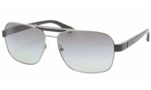 Prada 55OS 5AV3M1 Gunmetal 55OS Aviator Sunglasses Lens Category - Prada Rectangular Sunglasses Aviator
