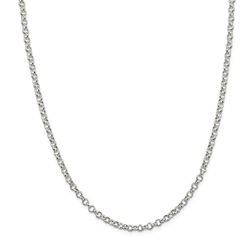 925 Sterling Silver 4mm Rolo Chain Necklace 24 Inch Pendant Charm Fine Jewelry Gifts For Women For Her ()