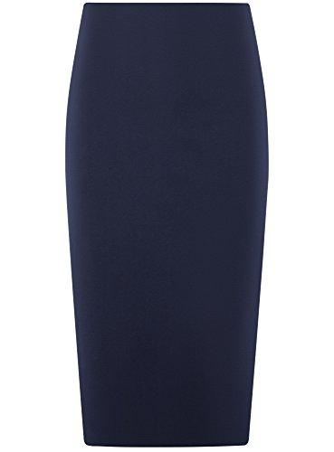 7900n Mi Longue Collection Jupe oodji Femme Ajuste Bleu 0qUgA
