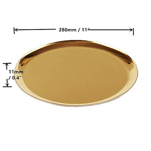 boweiwj Dinner Plates Serving Tray Stainless Steel Tray Golden Plate Cosmetics Jewelry Organizer Towel Tray Storage Tray Dish Tray Tea Tray Fruit Trays (11In Gold Round Tray) ... by boweiwj (Image #3)