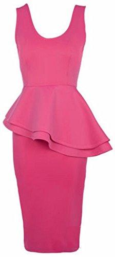 New Womens Double Peplum Frill Peplum Bodycon Midi Going Out Dress ( Cerise , L FITS 12-14 (Double Peplum Dress)