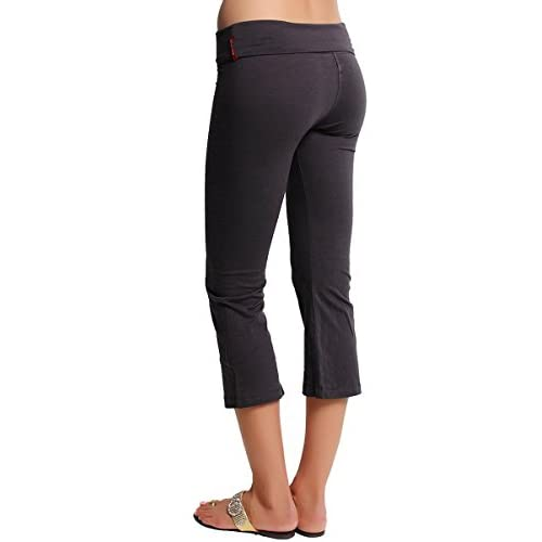 4ed9cabac7 TheMogan Women's Fold Over Stretchy Crop Yoga Workout Legging Flare Capri  Pant 80%OFF