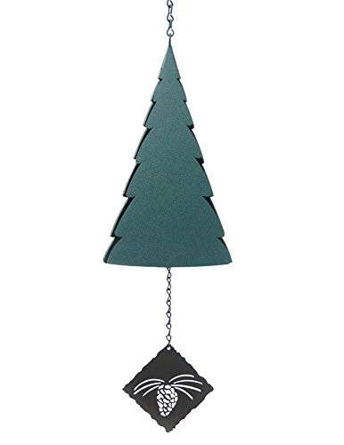 Forest Bell: American Made Large 3-Tone Outdoor Wind Bell with Pine Cone Wind Catcher
