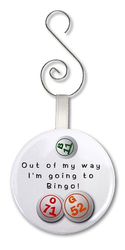GOING TO PLAY Bingo Fan 2.25 inch Button Style Hanging (Bingo Ornament)