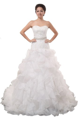 Massoo Women's Beautiful Sweetheart Taffeta A-Line Cathedral Train Bridal Dress US-26W White (Sweetheart Cathedral Train)