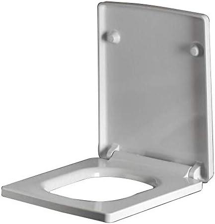 RBZCCP トイレのふた、シートユニバーサルトイレのふた、スロークローズミュート付きの正方形は、備品と継手のふたヒンジ、白いU形の便座カバーを厚くします。 ほとんどのトイレに適合 (Size : 40-45cm*34.5cm)