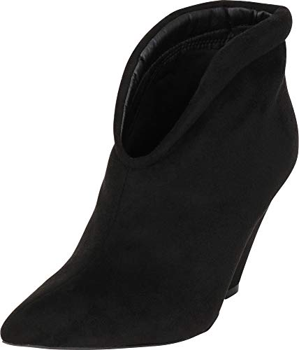 Cambridge Select Women's Pointed Toe Front V Cutout Chunky Cone Heel Ankle Bootie,7.5 M US,Black -