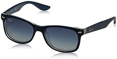 Ray-Ban Junior RJ9052S New Wayfarer Kids Sunglasses, Matte Blue On Transparent/Blue Gradient, 47 mm
