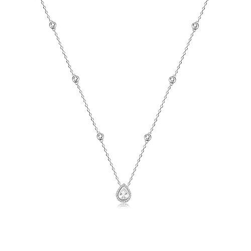 espere Sterling Silver Waterdrop Pear Shape Pendant Droplet Necklace ()