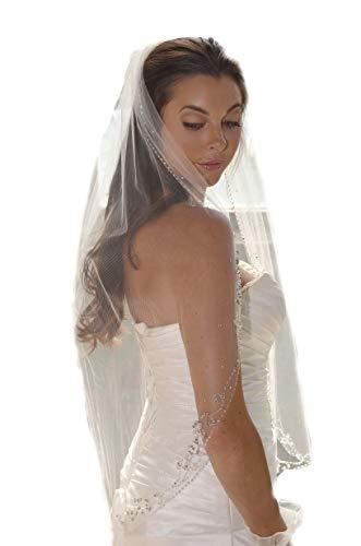 Passat Ivory 1T Elbow/Waist short veil Bridal Veil Embroidery Edge Beaded Pearls crystal rhinestone VL1056