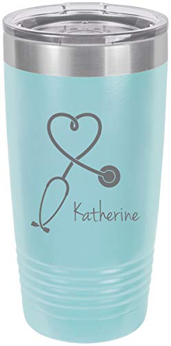 Stethoscope Nurse Personalized Add Your Custom Text Insulated Tumbler 20 Oz Travel Coffee Mug Customizable (Light Blue) -