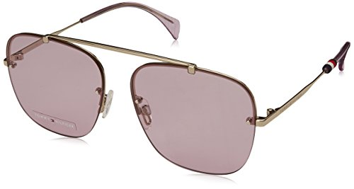 Tommy Hilfiger Women's TH1574S Aviator Sunglasses, Light Gold, 59 ()