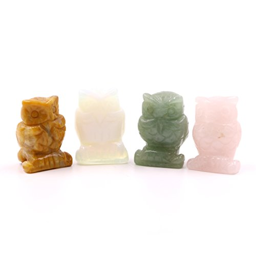 Fvstar 4pcs Mini Gemstone Owl Figurine Carved Natural Stone Sculpture Statue for Room Decor (1.5 inch, Yellow/Green / Opalite/Rose Quartz)