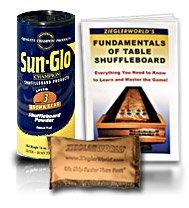 SunGlo Table Shuffleboard Speed #3 - Brown Bear - 6 pack of 1 pound Powder Wax Can + Talc + Shuffleboard Booklet