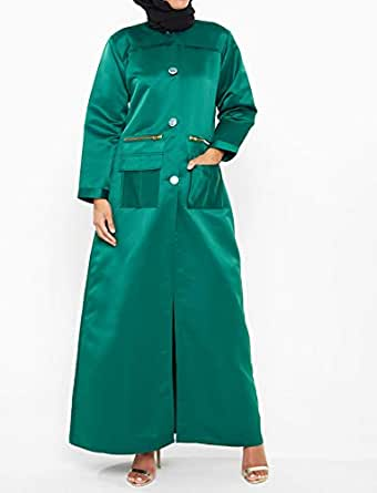 Nukhbaa Green Satin Cape For Women
