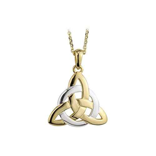 Gold Trinity Knot Pendant - Biddy Murphy Trinity Knot Necklace Two Tone Gold Plated Irish Made
