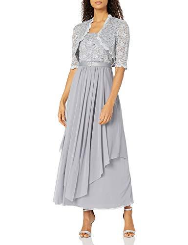 R&M Richards Women's 2 PCE Lace Georgette Jacket Dress, Silver, 10