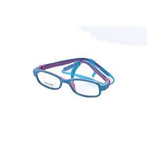 Deding Kids Optical Eyeglasses No Screw Bendable with Stringa and Case ,Children Tr90&silicone Safe Flexible Glasses Frame (Blue Pink)