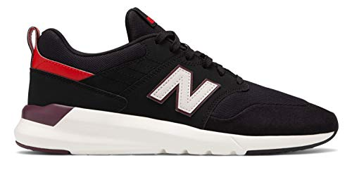 (New Balance Men's 009 V1 Sneaker, Black/Velocity RED, 11.5 4E US)