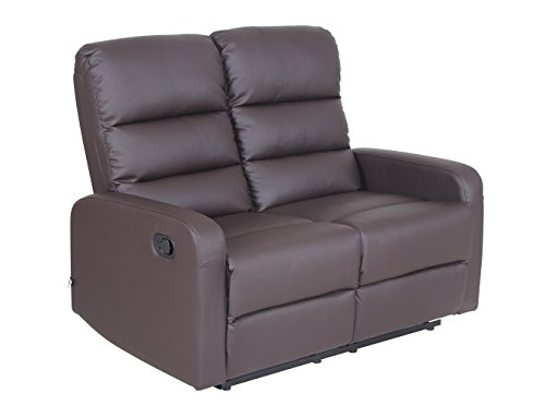 Top Grain Leather PU Leather Ergonomic Recliner loveseat (2 Seater), Brown