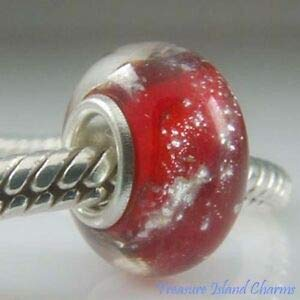 Harissa RED Galaxy Murano LAMPWORK Glass 925 Solid Sterling Silver European Bead Charm Crafting, Bracelet Necklace Jewelry Findings Jewelry Making Accessory
