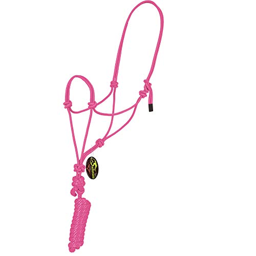 Southwestern Equine Rope Halter & Lead Rope Mountain Rope Diamond Braided for Comfort (Pink)