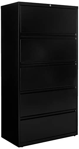 36 Inch Wide 5 Drawer - Lorell 5-Drawer 36 x 18.6 x 67.7 inch Telescoping Suspension Lateral File, Black