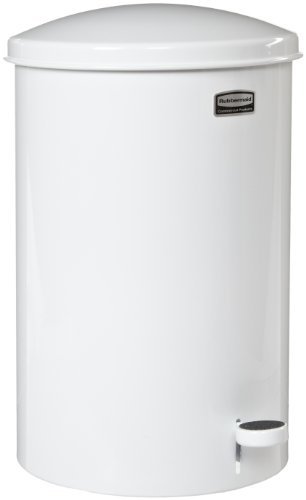 Rubbermaid Commercial FGST35EPLWH The Defenders Steel Step Trash Can with Plastic Liner, 3.5-Gallon, White