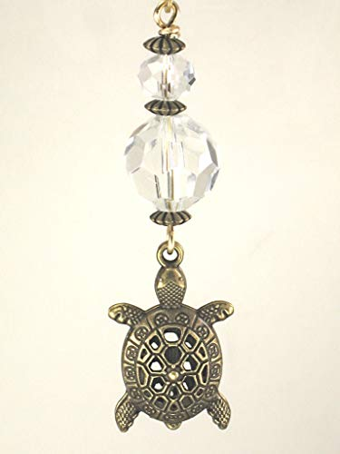 Brass Filigree Turtle and Crystal Clear Faceted Glass Ceiling Fan Pull