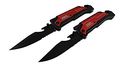 2x 2 NEW Rogue River Tactical Rescue Folding Knives Best Red 6-in-1 Multitool Survival Pocket Knife with Magnesium Fire Starter, LED Flashlight Bottle Opener Seat Belt Cutter and Windows Breaker by Rogue River Tactical