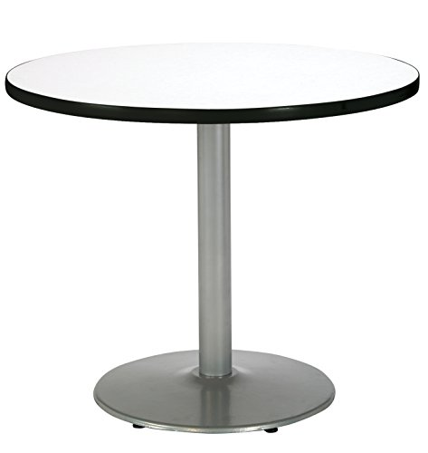 (KFI Seating Round Pedestal Table with Round Silver Base, Commercial Grade, 36-Inch, Crisp Linen Laminate, Made in the USA)